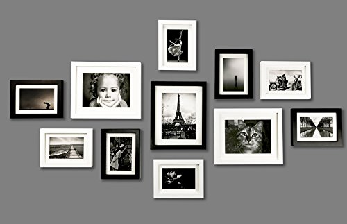 solid-wood-photo-frame-set-11-frames-with-picture-mounts-and-glass-front-frame-width-2cm-blackwhite