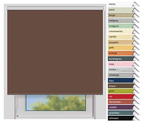 EFIXS Thermorollo Medium - 25 mm Welle - Farbe: braun (066) - Größe: 160 x 190 cm (Stoffbreite x Höhe) - Hitzeschutzrollo - Verdunklungsrollo - Kakao-winkel