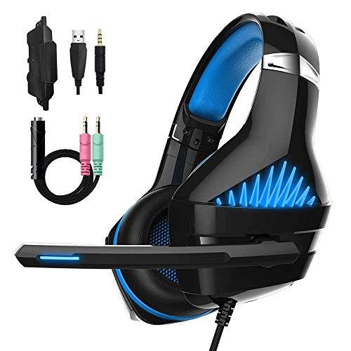 Laxus Gaming Headset für PS4 PC, LED Licht Crystal Clarity Sound Professional Kopfhörer mit Mikrofon für Laptop Mac Handy Tablet