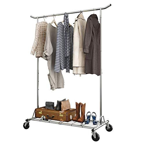 LANGRIA Robuster Kleiderständer mit Rollen, zusammenklappbar, für gewerbliche Zwecke geeignet, mit Rollen, höhenverstellbar, max. Tragkraft 143,5 kg. Kleiderschrank für Schlafzimmer (Chrom)
