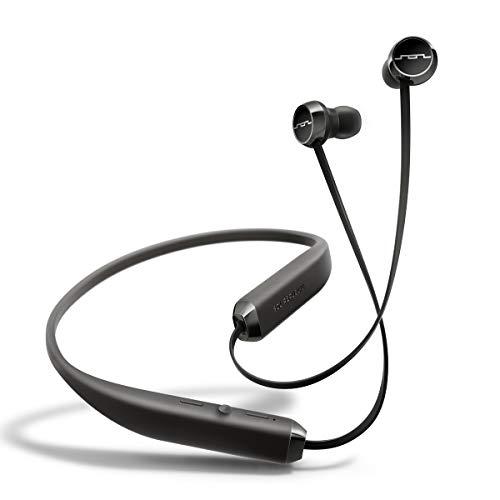 Sol Repubblic Auricolari in-ear Wireless Bluetooth, Fino a 8 ore di musica, Comodo archetto per il collo, Controlli del mic e volume facili da premere, Design Uitra-leggero, Nero