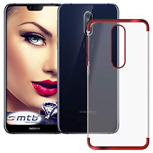mtb more energy® Schutz-Hülle Elegance für Nokia 7.1 Dual SIM (5.84'') | rot | flexibel | TPU Frame Rahmen Case Cover Tasche