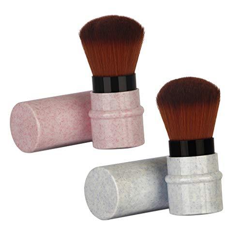 CUTICATE Mármol Textura Estiramiento Polvo Corrector Blush Blending Brush - Rosa + azul