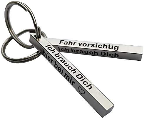 Schlüsselanhänger Fahr vorsichtig ich brauch Dich Geschenk für Freundin Freund Paar Partner mit Gravur Schmuck Partnerschlüsselanhänger Pärchen mit Herz