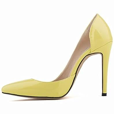 HooH Femmes Simple Pointu D'Orsay Stiletto Escarpins-Jaune-42