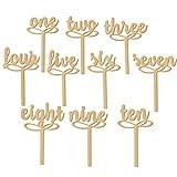 Nuolux 10PCS 1–10numeri di tavolo in legno su bastoni per matrimonio o decorazione della casa (legno colore)