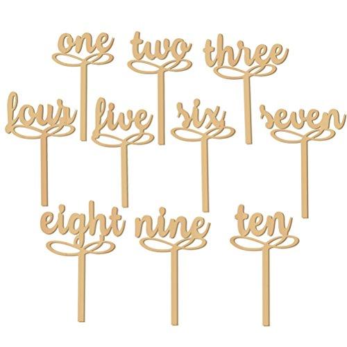 Pixnor Numeri di tavolo in legno di 1-10 su bastoni per nozze decorazione partito confezione da 10 - Ricevimento Di Nozze Tavolo Decorazioni