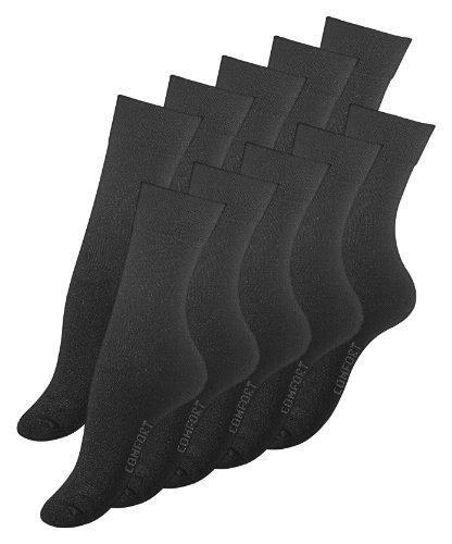 Lot de 10 paires de chaussettes COMFORT - coton - sans élastique - femme - noir