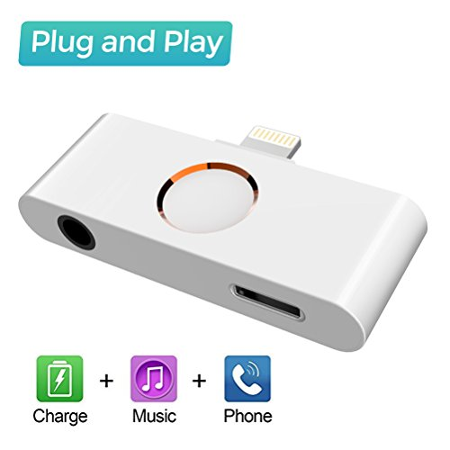 Lightning to home button Audio charge adapter for Iphone X / 5 / Iphone 6/ Iphone 7/ Iphone 8/ 8 plus with DC 3.5mm Earphone Jack, Support Music and Charging at the same time -Compatible with ios 9.2 ~11.2.1