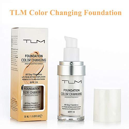 TLM Color Changing Foundation, TLM Concealer-Abdeckung, Make-up-Abdeckung für Gesicht und Hals, 30 ml Concealer, Primer Langlebig und Perfekte Abdeckung -