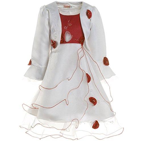 Mädchen Kommunions Kleid Festkleid Kostüm Bolero und Rose 21476, Farbe:Bordeaux, Größe:104