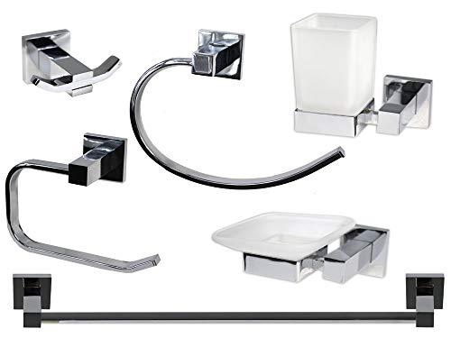 vetrineinrete® set bagno moderno quadrato in acciaio cromato e vetro satinato opaco 6 pezzi accessori arredo bagno f3