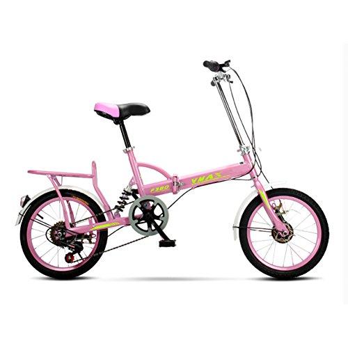 YEARLY Erwachsene klappräder, Klappräder Männer und frauen Super leichtes Kinder Studenten 6-gang Faltrad-Rosa 20inch