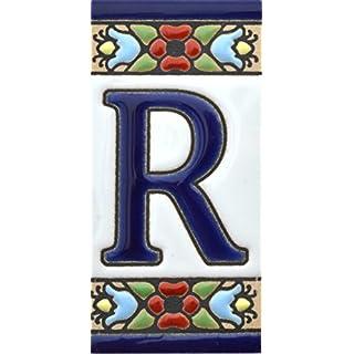 Schilder mit Zahlen und Nummern auf Keramikkachel. Handgemalte Kordeltechnik fuer Schilder mit Namen, Adressen und Wegweisern. Design FLORES MINI 7,3 cm x 3,5 cm (BUCHSTABEN