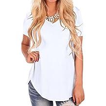 Fliegend Camiseta Oversize para Mujer Manga Corta Top Blusa de Verano Casual Camisas de Cuello Redondo