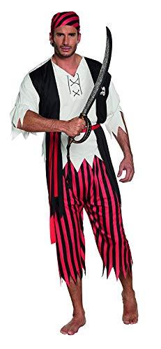 Nerd Clear Piraten Kostüm für Herren | Größe M/L | 4-teilig: Haartuch, Shirt mit Weste, Gürtel, Hose | hochwertig und ideal für Karneval & Fasching (Stiefelstulpen Sparrow Jack)