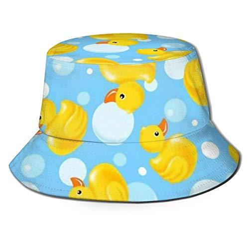 zhouyongz Herren und Damen Cool Fisherman's Hut, gelbe Ente und Blaue Luftblasen Trucker Mesh Cap -
