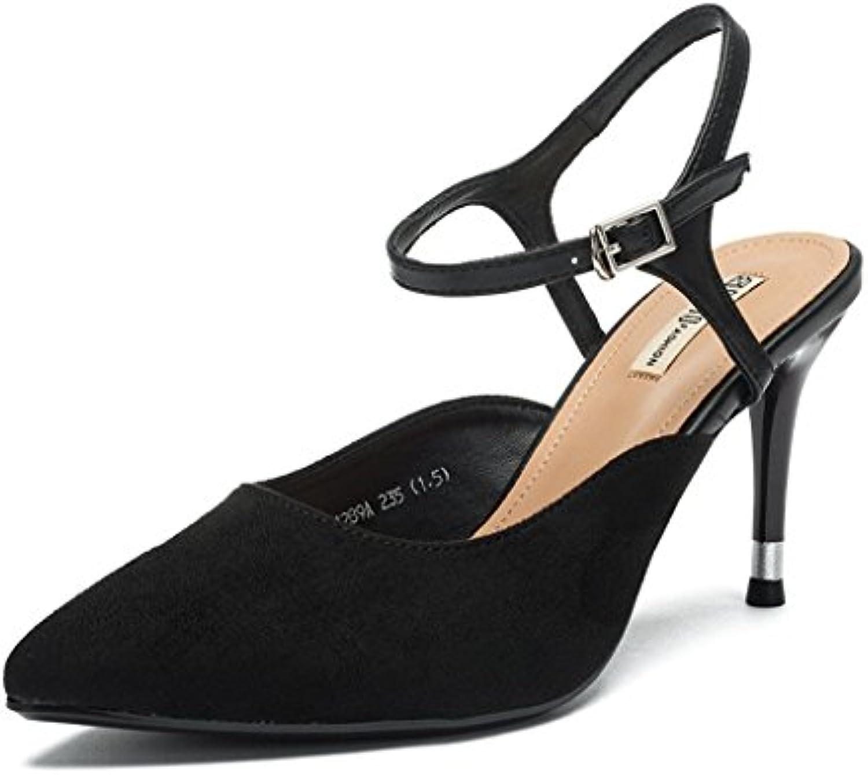 DONGLU Damenschuhe Sommer Schwarz Wildleder Schuhe Retro High Heels