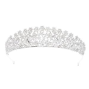 sepbridals Zirkonia CZ Blumen Hochzeit Brautschmuck Tiara Krone Diadem Frauen Haar-Accessoires Schmuck s16438