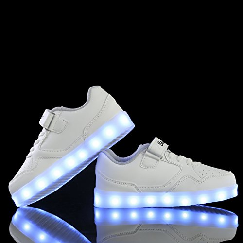 bevoker Lumineuses Chaussures Filles Garçons 7 Couleurs USB Recharge basket led enfant Blanc