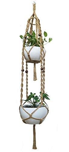 Plante de macramé Suspension et suspension pour pot de fleurs, double pont pour 20,3 cm à 30,5 cm Two Pots 175,3 cm