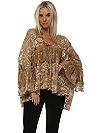 2cb41de5a9aa46 Laurie   Joe Tan Tulle Embroidered Tassle Blouse Top