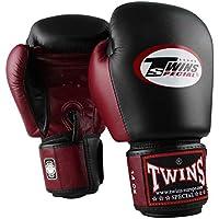 Twins Guantes de Boxeo professional de cuero / Muay Thai Kickboxing / Model: BGVL3 retro gris - negro, Onzas:10 oz