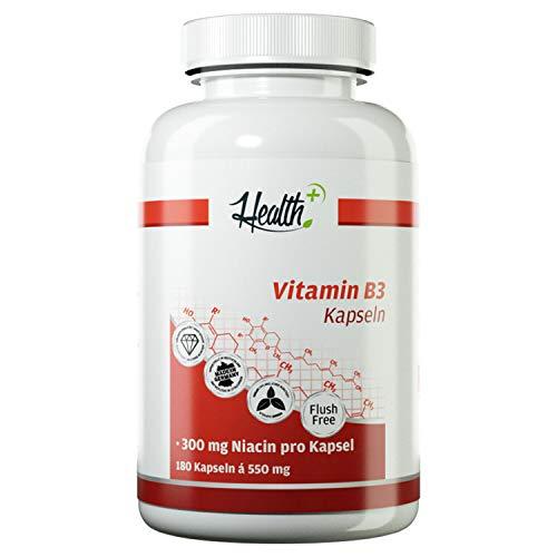 HEALTH+ Vitamin B3 Niacin Flush-Free Form - 180 Kapseln, 300 mg Niacin pro Kapsel, hochdosierte B3 Vitamin Kapseln, Nahrungsergänzungsmittel Made in Germany