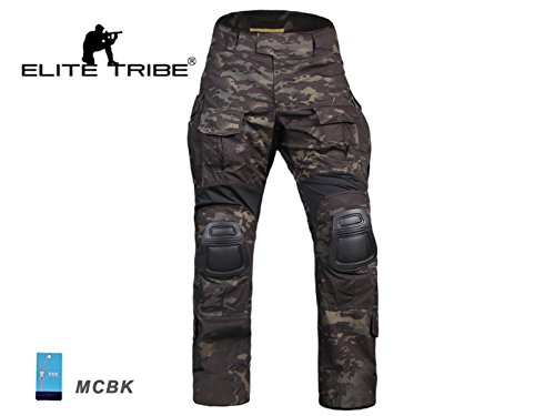équipement de paintball Homme Tenues de Combat Pantalon Militaire Gen3 pantalons de tactique et Genouillères MultiCam Black (L(34))