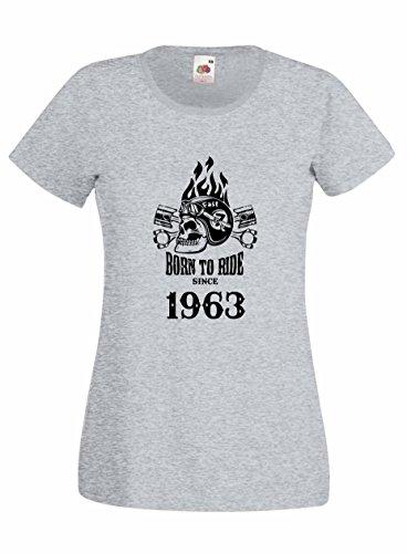 Settantallora - T-shirt Maglietta donna J2233 Born To Ride Since 1963 Grigio
