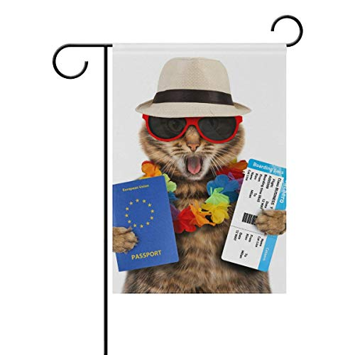 ASKYE Garden Flag Decorative Funny Cat with Passport Airline Ticket Polyester Double Sided Printed for Outdoor Courtyards(Size: 12.5inch W X 18 inch H) (Ticket Airline)