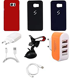 NIROSHA Cover Case Charger USB Cable Mobile Holder car for Samsung Galaxy Note 5 - Combo