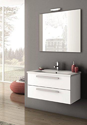 Ada,Mobile arredo bagno completo di lavabo e specchio,Mis. L85xP45,5xH44,5 cm,con finitura Grigio antracite lucido