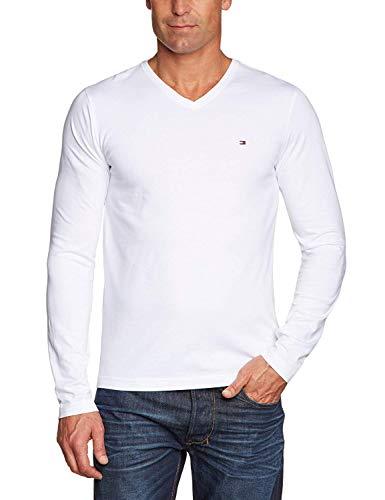 Tommy Hilfiger Men's Flag Tee L/S V Nk RF (XL, Weiß (Classic White 100)) -