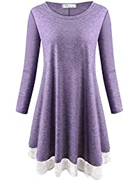 Anna Smith Women Casual Round Neck 3/4 Sleeve Lace Trim Insert Tunic Dress Tops