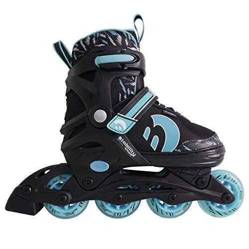 Best Sporting Inline Skates, Größe verstellbar, ABEC 7 Carbon, Inliner Kinder und Jugendliche, Farbe türkisblau-schwarz, Größe 34-37