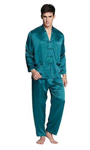 LILYSILK Pyjama Homme 100% Soie 22 Momme avec Boutons Traditionnels Chinois L Rouge Vineux M Bleu Royal