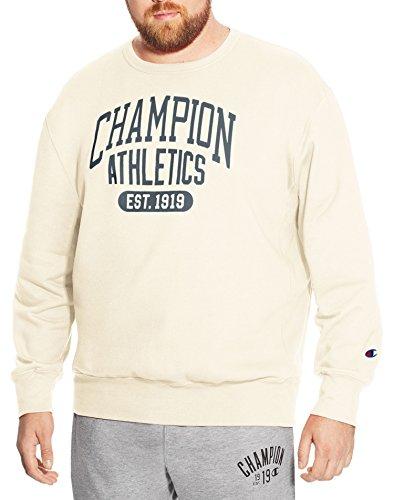 Champion Men's Big and Tall Graphic Fleece Sweatshirt (Ivory, 5XL) Big And Tall Sweatshirt