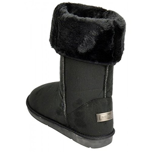 womens-boots-ladies-ankle-mid-calf-faux-fur-lined-collar-winter-warm-snow-boots-black-6