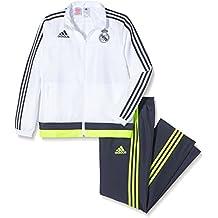 adidas Real Pr Suit Y - Chándal para niño, color blanco / gris / lima, talla 176