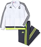 Official 2015 2016 Real Madrid Presentation Tracksuit, available to buy online in junior sizes small boys, medium boys, large boys, XL boys.This tracksuit forms part of the Real Madrid 2015 2016 training range and is manufactured by Adidas...