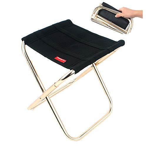 MCUILEE Outdoor Klappstühle klein Camping Stühle Aluminium Tragbarer Sitz Hocker für Angeln Camping Reisen Wandern Strand Garten BBQ, Schwarz, m
