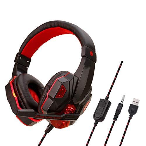 Micro Casque PS4 Gaming, Casque Audio Stéréo Basse avec LED lumière, Casque Gaming Bien Anti-Bruit, Casque Gamer Confortable Compatible pour PS4/PC/Laptop/Tablette/Smartphone (Rouge)