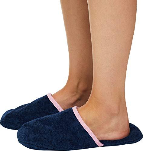 Weiche Velours-bademantel (Sowel® Frottee Slipper ohne Silikonnoppen, Damen und Herren, 100% Baumwolle, Universalgröße, Geschlossen)