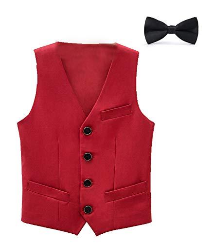 CYSTYLE Kinder Jungen Anzugweste Festlich Smoking Weste Geburtstag Karneval Fasching Weihnachten Party Kleidung (Rot, 120/Körpergröße 110 cm) (Für Kinder Kleidung Weihnachten)