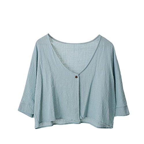Meijunter Filles Femmes Rétro Loose Coton Lin 3/4 manches Sunscreen Chemise Soft Court Tops Bleu