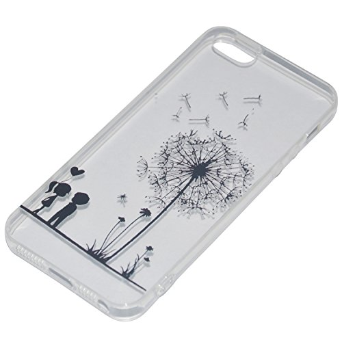 ICHOW Ultra delgada caja del teléfono de pantalla flexible transparente cubierta para el dibujo grabado de protector de Empaistic del diente de león para Iphone 5 5s