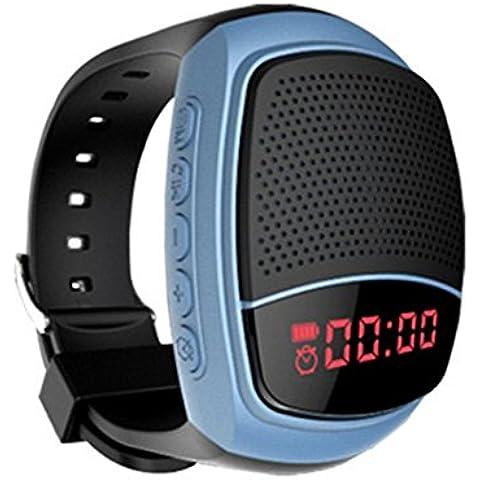 Eximtrade Bici Bicicleta Bluetooth Wireless Inalámbrico Altavoz Reloj Música MP3 TF Tarjetas Manos Libres Micrófono Llamadas Telefónicas Selfie Minutero Alarma FM Radio para Auto Bici Jogging Footing Correr Sport (Azul)