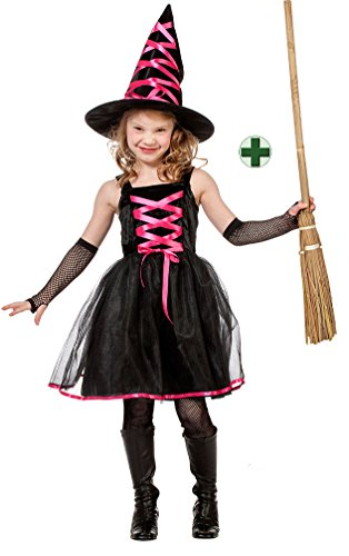 exenkostüm Mädchen schwarz-pink Halloween Karneval Kinder-kostüm inkl. Hexenhut und Hexenbesen 152 (Süßeste Kinder Halloween Kostüme)
