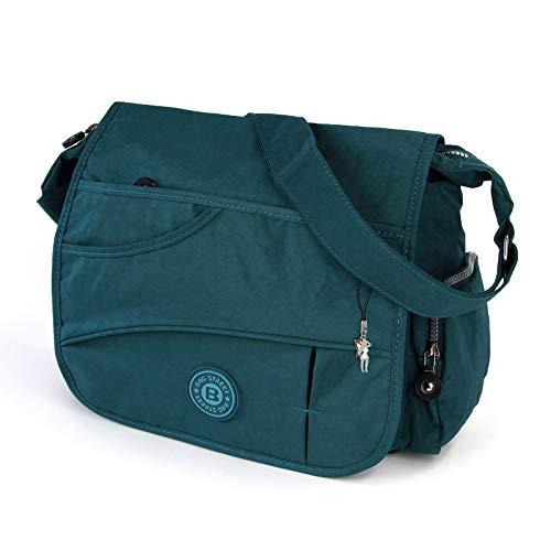 DrachenLeder Bag Street Umhängetasche Modische Überschlagtasche Crossover Nylon blau OTJ214B